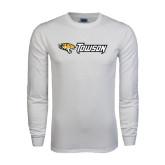 White Long Sleeve T Shirt-Tiger Head w/Towson Flat