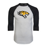 White/Black Raglan Baseball T-Shirt-Tiger Head