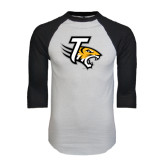White/Black Raglan Baseball T-Shirt-T w/Tiger Head