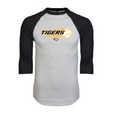 White/Black Raglan Baseball T-Shirt-Tigers Baseball Flat w/Flying Ball