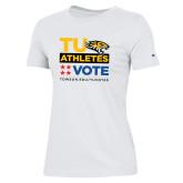 Ladies Champion White T Shirt-TU Athletics Vote