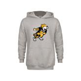 Youth Grey Fleece Hood-Running Youth Mark