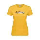 Ladies Gold T Shirt-Tiger Head w/Towson Flat