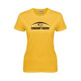 Ladies Gold T Shirt-Towson Tigers Football Horizontal