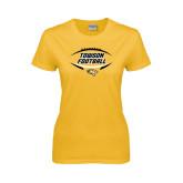 Ladies Gold T Shirt-Towson Football Inside Ball