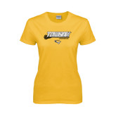 Ladies Gold T Shirt-Lacrosse Stick w/Calvert Pattern