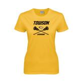 Ladies Gold T Shirt-Lacrosse Crossed Sticks