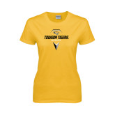 Ladies Gold T Shirt-Geometric Lacrosse Head