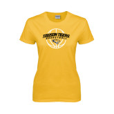 Ladies Gold T Shirt-Basketball Arched w/Ball