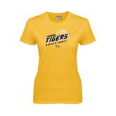 Ladies Gold T Shirt-Tigers Basketball Slanted w/Striped Pattern