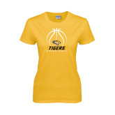 Ladies Gold T Shirt-Tigers Basketball Stacked Under Ball
