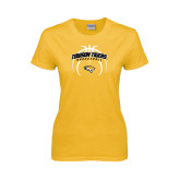 Ladies Gold T Shirt-Towson Tigers Arched Over Basketball