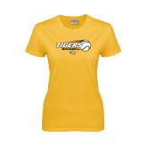 Ladies Gold T Shirt-Tigers Baseball Flat w/Flying Ball