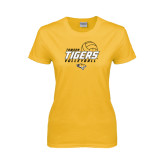 Ladies Gold T Shirt-Tigers Volleyball Stacked w/ Ball