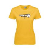 Ladies Gold T Shirt-Tigers Softball Flat w/Flying Ball