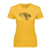 Ladies Gold T Shirt-Tiger Head Rhinestones