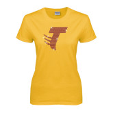 Ladies Gold T Shirt-Towson T Rhinestones