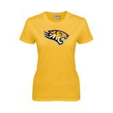 Ladies Gold T Shirt-Tiger Head