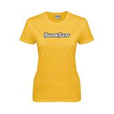 Ladies Gold T Shirt-Towson Tigers Wordmark