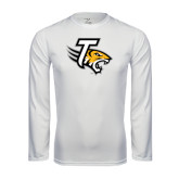 Performance White Longsleeve Shirt-T w/Tiger Head