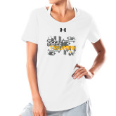 Ladies Under Armour White Charged Cotton Tee-Tiger Triumph
