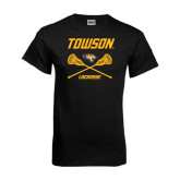 Black T Shirt-Lacrosse Crossed Sticks
