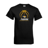 Black T Shirt-Tigers Basketball Stacked Under Ball