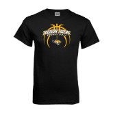 Black T Shirt-Towson Tigers Arched Over Basketball