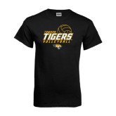 Black T Shirt-Tigers Volleyball Stacked w/ Ball