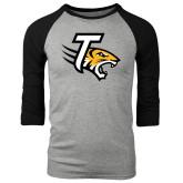Grey/Black Tri Blend Baseball Raglan-T w/Tiger Head