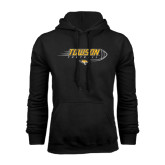 Black Fleece Hoodie-Flying Football w/Tiger Stripes