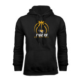 Black Fleece Hoodie-Tigers Basketball Stacked Under Ball