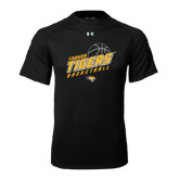 Under Armour Black Tech Tee-Tigers Basketball Slanted w/Striped Pattern