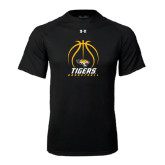 Under Armour Black Tech Tee-Tigers Basketball Stacked Under Ball