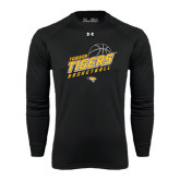 Under Armour Black Long Sleeve Tech Tee-Tigers Basketball Slanted w/Striped Pattern