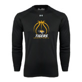 Under Armour Black Long Sleeve Tech Tee-Tigers Basketball Stacked Under Ball
