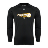 Under Armour Black Long Sleeve Tech Tee-Tigers Softball Flat w/Flying Ball