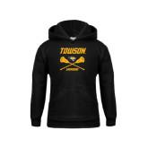 Youth Black Fleece Hoodie-Lacrosse Crossed Sticks