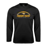 Performance Black Longsleeve Shirt-Towson Tigers Football Horizontal