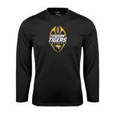 Performance Black Longsleeve Shirt-Towson Tigers Football Vertical