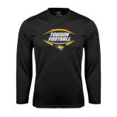 Performance Black Longsleeve Shirt-Towson Football Inside Ball