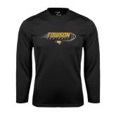 Performance Black Longsleeve Shirt-Flying Football w/Tiger Stripes