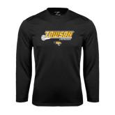 Performance Black Longsleeve Shirt-Lacrosse Stick w/Calvert Pattern