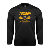 Performance Black Longsleeve Shirt-Lacrosse Crossed Sticks