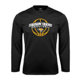 Performance Black Longsleeve Shirt-Basketball Arched w/Ball
