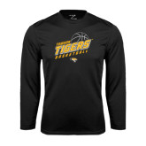 Performance Black Longsleeve Shirt-Tigers Basketball Slanted w/Striped Pattern