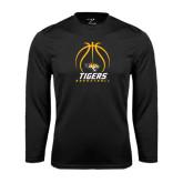 Performance Black Longsleeve Shirt-Tigers Basketball Stacked Under Ball