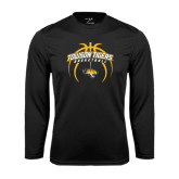 Performance Black Longsleeve Shirt-Towson Tigers Arched Over Basketball