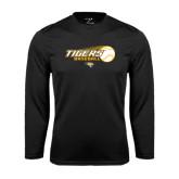 Performance Black Longsleeve Shirt-Tigers Baseball Flat w/Flying Ball