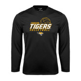 Performance Black Longsleeve Shirt-Tigers Volleyball Stacked w/ Ball